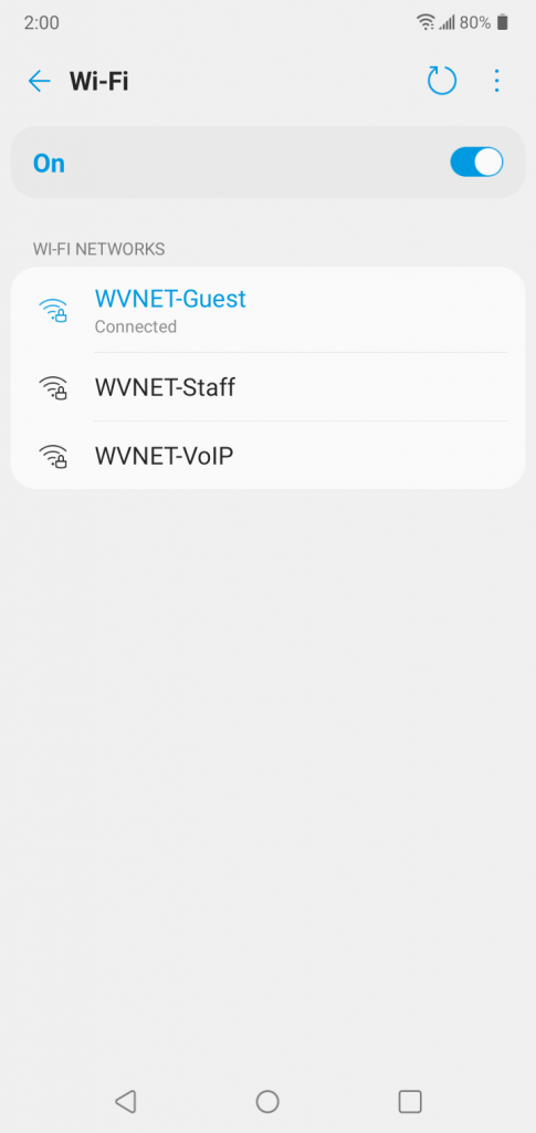 Android WiFi networks screen